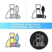 ícone linear preto de alterações de vestido de baile de formatura vetor
