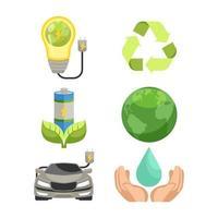 dia da terra salvar ícones do ambiente vetor