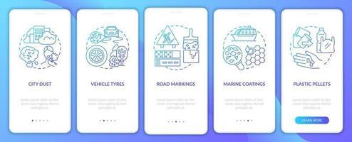 fontes de microplásticos integrando a tela da página do aplicativo móvel com conceitos vetor