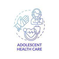 ícone de conceito gradiente azul de saúde para adolescentes vetor