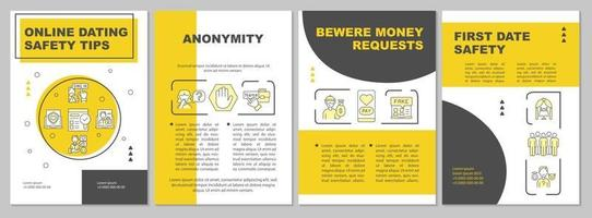 modelo de folheto de dicas de segurança para namoro online vetor
