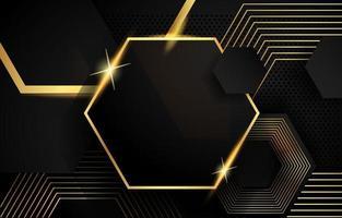 fundo hexagonal preto e dourado vetor