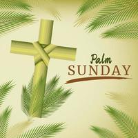 palma domingo com cruz cristã e folha de palmeira vetor