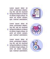 ícones de linha de conceito de seguro saúde com texto vetor