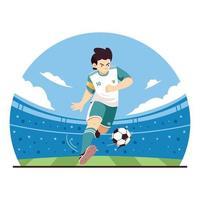 design de jogador de futebol chutando bola vetor