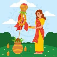 mulher orando por gudi padwa, ano novo hindu vetor