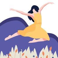 ilustração de treinamento de menina dança estilo simples vetor