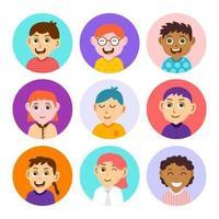 coleção de ícones de crianças fofas vetor