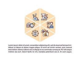 ícones de linha de conceito de cobertura de seguro com texto vetor