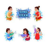 conjunto de design de adesivos da festa do dia de Songkran vetor