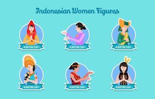 Conjunto de adesivos de kartini com várias roupas tradicionais indonésias vetor