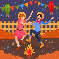 ilustração festa junina festival dança samba vetor