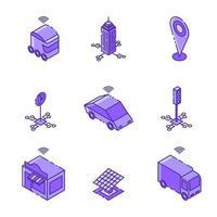 design de conjunto de ícones linear isométrico de cidade inteligente vetor