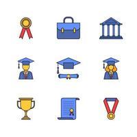 projeto de conjunto de ícones lineares de cor de graduação educacional vetor