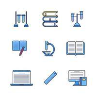 projeto de conjunto de ícones lineares de cor educação escolar vetor
