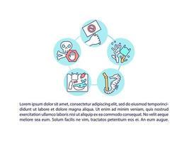 parar ícones de linha de conceito de microplásticos com texto vetor