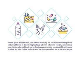 rejeição de ícones de linha de conceito de plástico com texto vetor