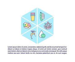 ícones de linha de conceito de embalagem de alimentos com texto vetor