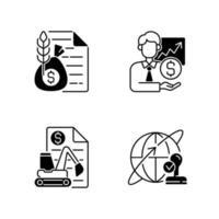 conjunto de ícones lineares pretos de serviços intermediários vetor
