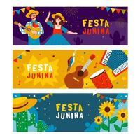 coleção de banner festa junina vetor