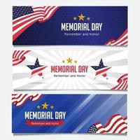 coleção de banner do dia do memorial vetor