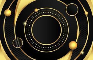 fundo do círculo preto e dourado vetor