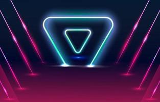 fundo de triângulo de luz neon vetor