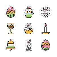 Conjunto de ícones coloridos de festividade do dia de Páscoa vetor