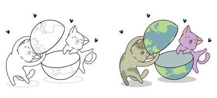 gatos bonitos estão adorando a página para colorir de desenhos animados do mundo para crianças vetor