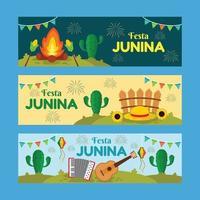 conjunto de banner feliz festa junina vetor