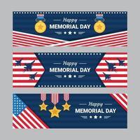 conjunto de banner feliz dia do memorial vetor