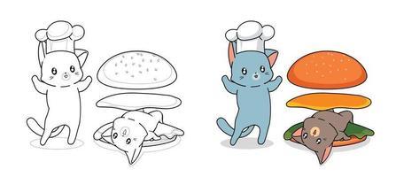 Desenhos animados do chef gato e gato para colorir para crianças vetor