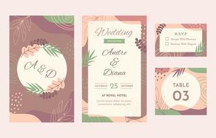 coleção de artigos de papelaria de casamento de natureza abstrata vetor