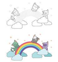 gatos adoráveis estão curtindo a página para colorir dos desenhos animados do arco-íris para crianças vetor