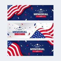 conjunto de banner do dia do memorial dos EUA vetor
