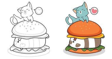 desenho animado gato está comendo um grande hambúrguer para colorir para crianças vetor