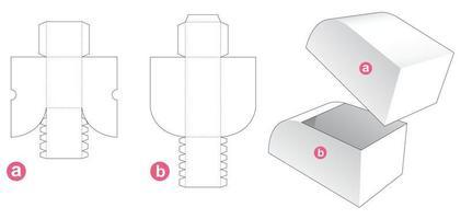 caixa de chanfro curva com molde de tampa cortada vetor