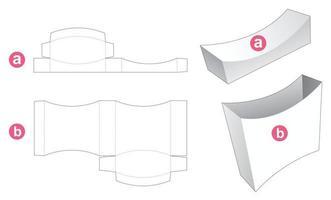 caixa de lata curvada com molde recortado de tampa vetor