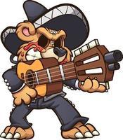 urso mariachi segurando uma guitarra vetor