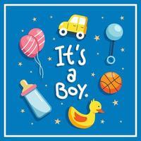 dia de nascimento para menino bonito conceito de design vetor