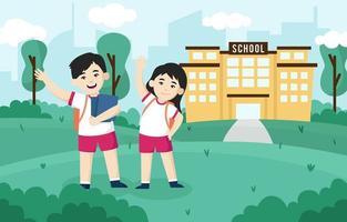 ilustração de crianças felizes de volta às aulas vetor