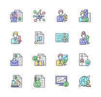 conjunto de ícones de cores rgb de serviços de corretor vetor