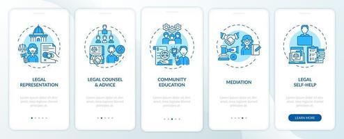 categorias de serviços jurídicos tela de página de aplicativo móvel de integração com conceitos vetor