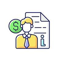 ícone de cor rgb de consulta de corretor vetor