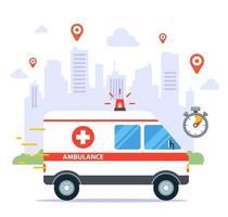 uma ambulância viajando para pegar um paciente doente vetor