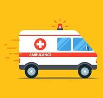 ambulância em alta velocidade com luzes piscando vetor