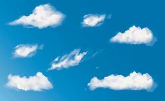 vetor nuvens brancas fofas em vetor de céu azul