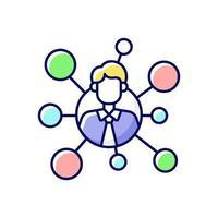 ícone de cor rgb de conexões do corretor vetor
