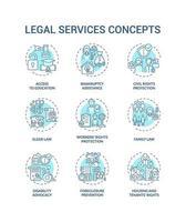 conjunto de ícones de conceito de serviços jurídicos