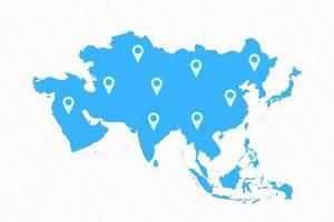 mapa do continente asiático com ícones do mapa vetor
